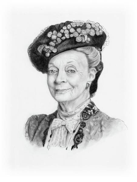 Wall Art - Drawing - Maggie Smith As The Dowager Countess, Downton Abbey by Joyce Geleynse