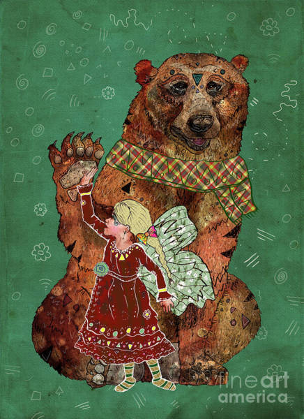 Woodland Animals Mixed Media - Magic Bearer by Francesca Rizzato
