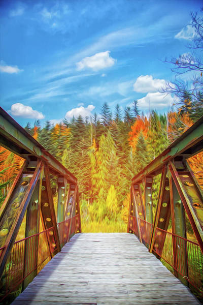 Beautiful Park Drawing - Magic Bridge In The Autumn Forest. Color Landscape. by Yaroslav Kreminskyi