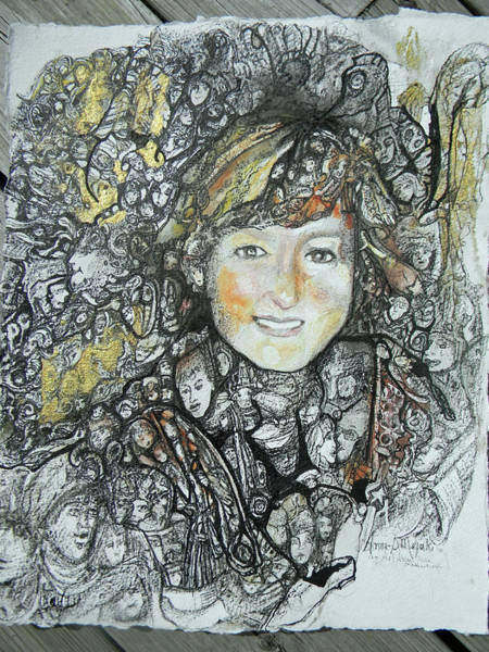 Drawing - Magic Eye Portrait by Anne-D Mejaki - Art About You productions