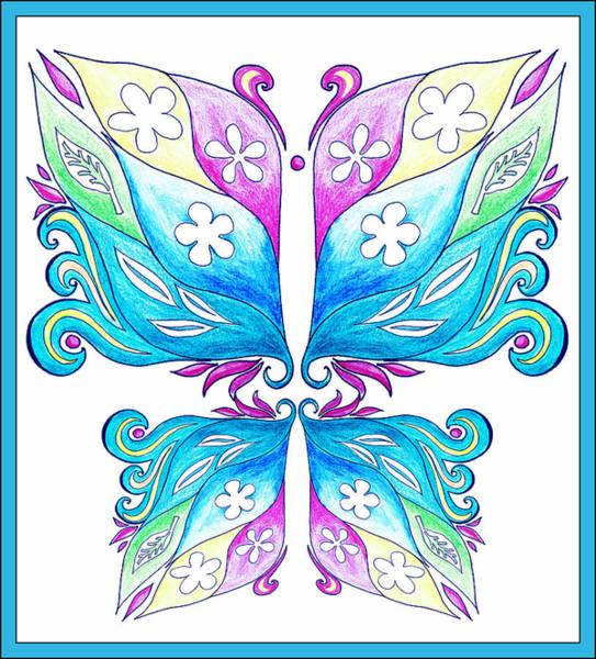 Painting - Magic Floral Butterfly Baby Blue by Irina Sztukowski