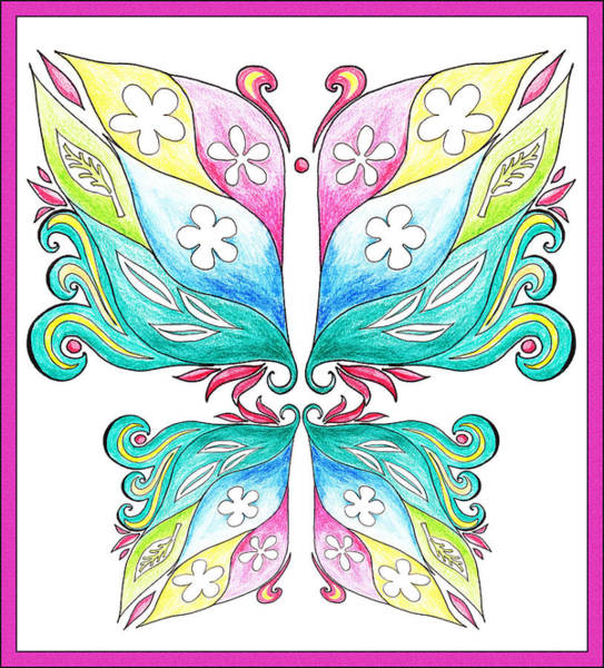 Girly Painting - Magic Floral Butterfly Baby Pink by Irina Sztukowski
