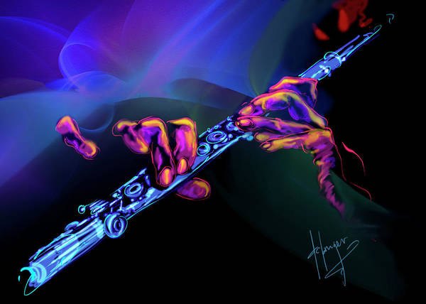 Sax Painting - Magic Flute by DC Langer