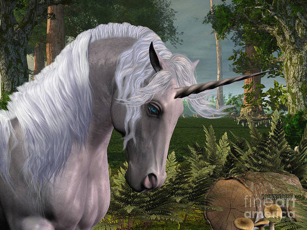 Unicorn Horn Digital Art - Magic Forest by Corey Ford