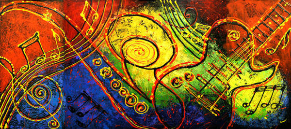 Wall Art - Painting - Magic Guitar by Leon Zernitsky