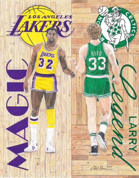 Nba Drawing - Magic Johnson And Larry Bird by Chris Brown