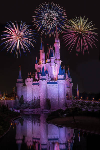 Photograph - Magic Kingdom Castle Under Fireworks by Chris Bordeleau