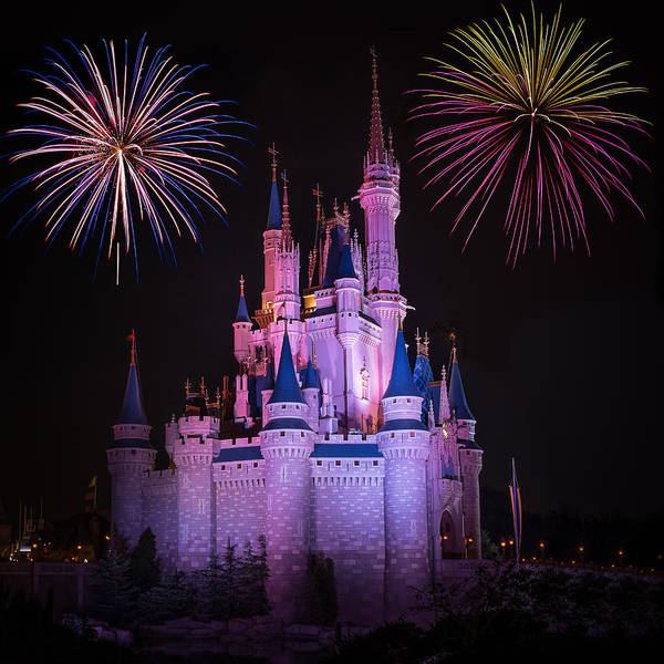 Photograph - Magic Kingdom Castle Under Fireworks Square by Chris Bordeleau