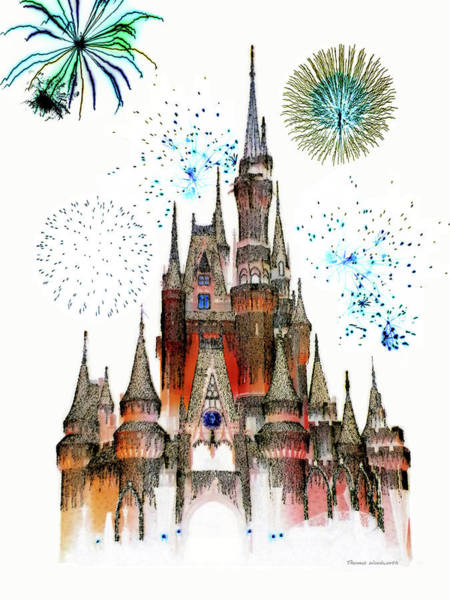 Town Square Mixed Media - Magic Kingdom Castle With Fireworks 01 by Thomas Woolworth