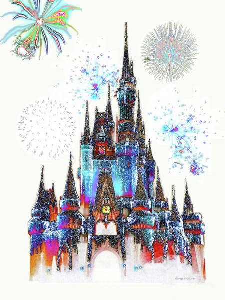 Town Square Mixed Media - Magic Kingdom Castle With Fireworks 02 by Thomas Woolworth