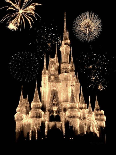 Town Square Mixed Media - Magic Kingdom Castle With Fireworks 04 by Thomas Woolworth