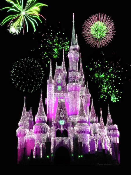 Town Square Mixed Media - Magic Kingdom Castle With Fireworks 05 by Thomas Woolworth