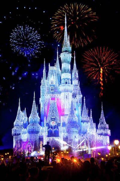Magic Kingdom Photograph - Magic Kingdom Fireworks by Mark Andrew Thomas