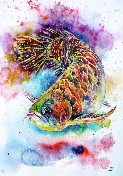 Freshwater Wall Art - Painting - Magic Of Arowana by Zaira Dzhaubaeva