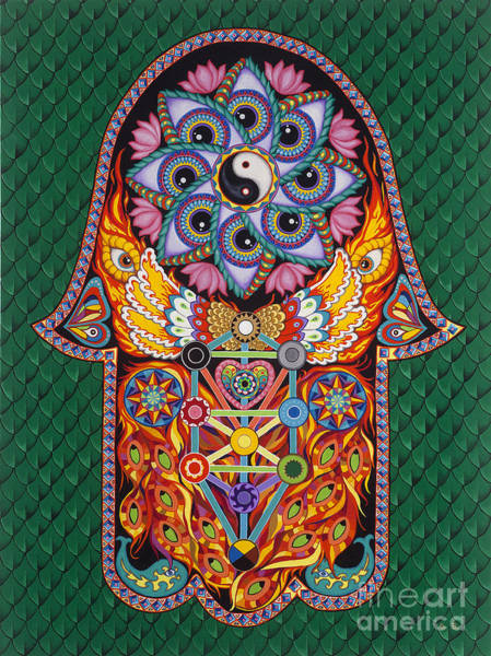 Hamsa Wall Art - Painting - Magic Vibes by Galina Bachmanova