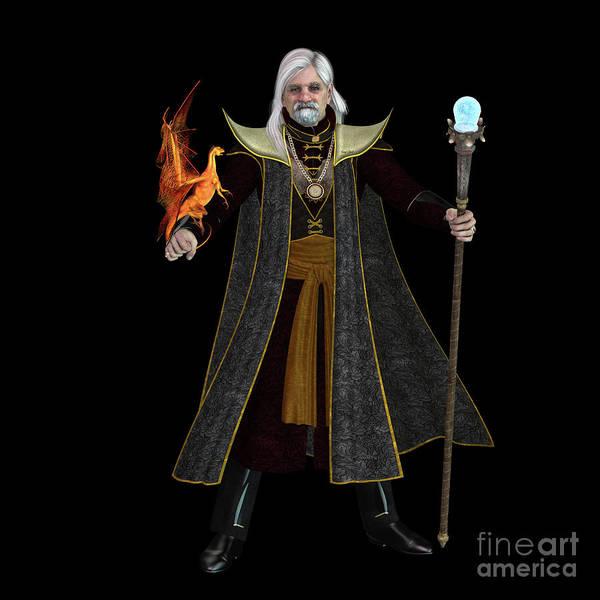 Shaman Digital Art - Magic Wizard On Black by Corey Ford