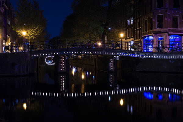 Photograph - Magical Amsterdam Night - Blue White And Purple Lights Symmetry by Georgia Mizuleva