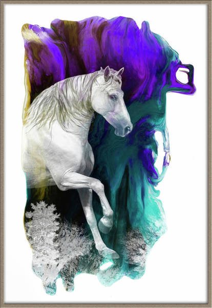 Wall Art - Digital Art - Magical  White Horse by Grace Iradian