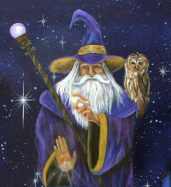 Owl Painting - Magical Merlin by Sundara Fawn