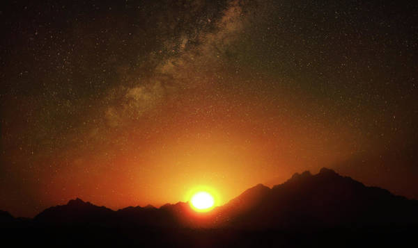 Magical Milkyway Above The African Mountains Art Print