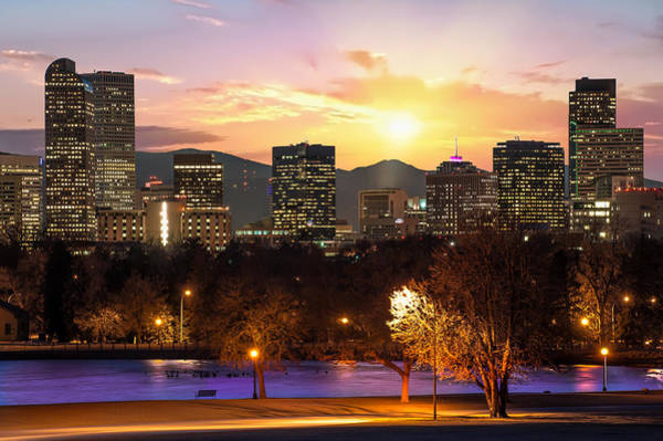 Photograph - Magical Mountain Sunset - Denver Colorado Downtown Skyline by Gregory Ballos