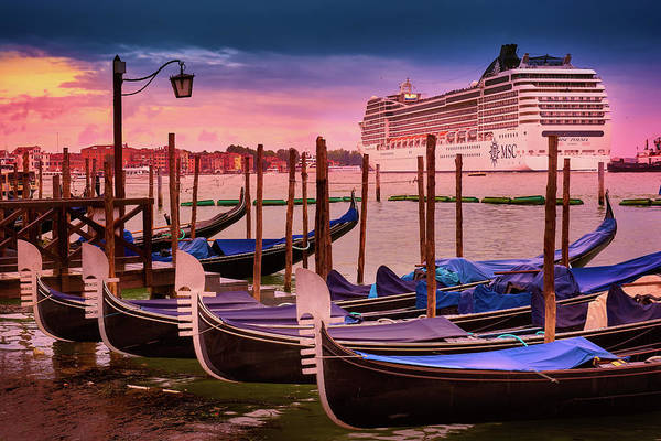 Photograph - Gondolas And Cityscape At Sunset In Venice, Italy by Fine Art Photography Prints By Eduardo Accorinti