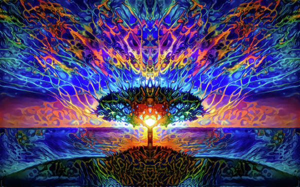 Primary Colors Mixed Media - Magical Tree And Sun 2 by Lilia D