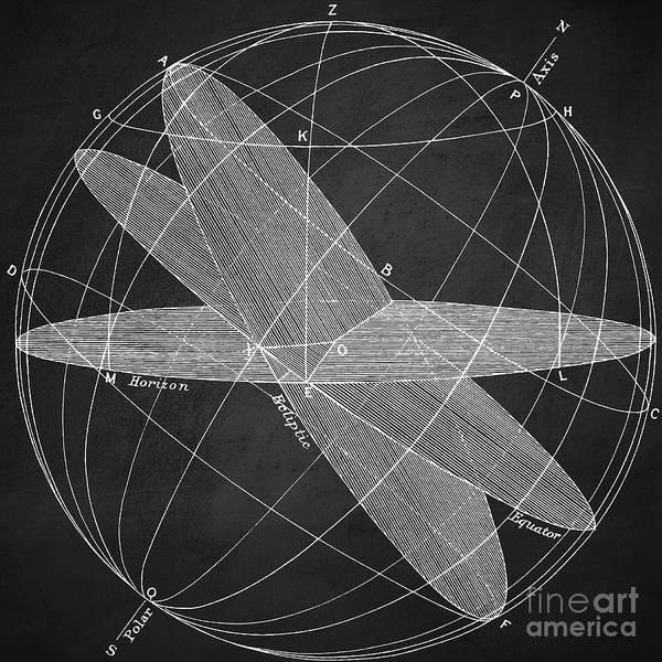Wall Art - Digital Art - Magnetic Fields Chalkboard by Edward Fielding