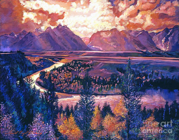 Skylights Wall Art - Painting - Magnificent Grand Tetons by David Lloyd Glover