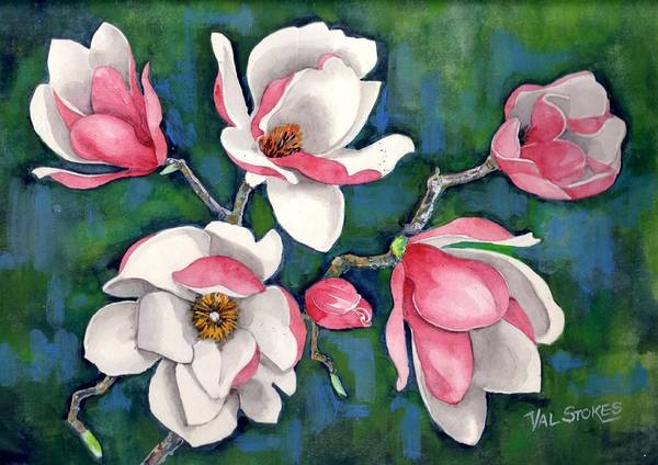 Painting - Magnolias by Val Stokes