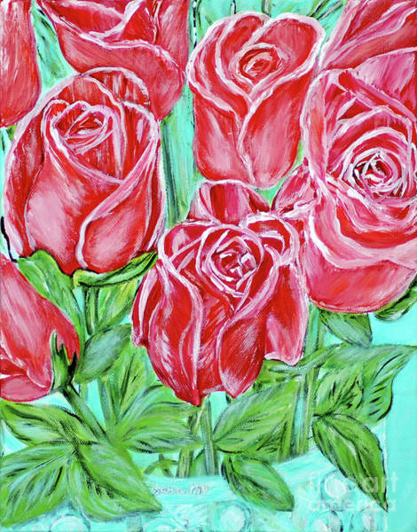 Painting - Magnificent Roses. Acrylic Painting. Pink Energy by Oksana Semenchenko