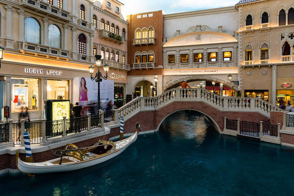 Photograph - Magnificent Shopping Destination - White Wedding Gondola At The Venetian Grand Canal Shoppes by Georgia Mizuleva