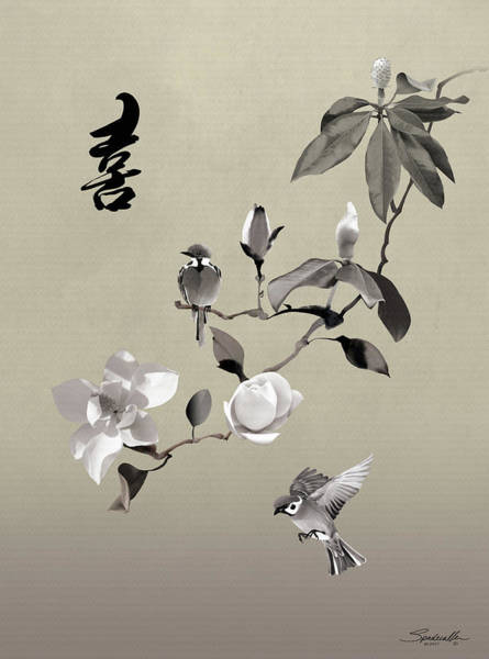 Digital Art - Magnolia And Two Sparrows by M Spadecaller