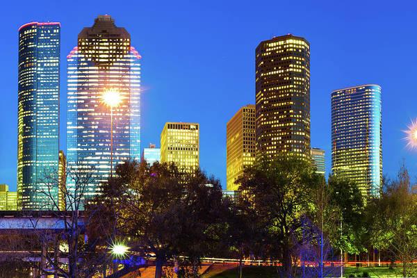 Photograph - Magnolia City At Dusk - Houston Texas Skyline by Gregory Ballos