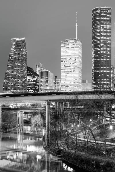 Photograph - Magnolia City In Black And White - Houston Vertical Skyline  by Gregory Ballos