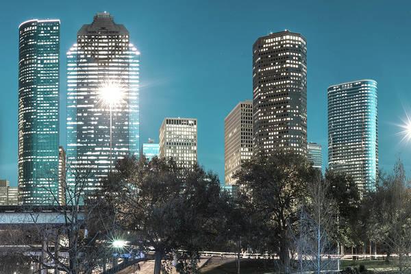 Photograph - Magnolia City In Blues - Houston Texas Skyline by Gregory Ballos