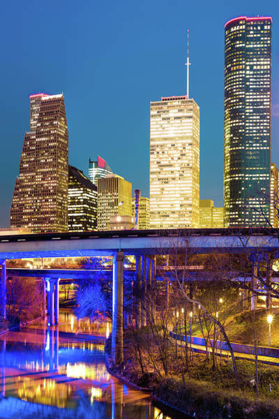 Photograph - Magnolia City In Color - Houston Vertical Skyline  by Gregory Ballos