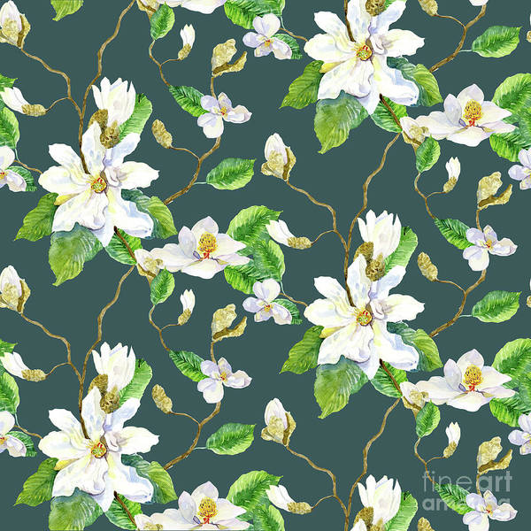 Wall Art - Painting - Magnolia Farmhouse Watercolor Chinoiserie Watercolor Home Decor Pattern Teal Blue by Audrey Jeanne Roberts