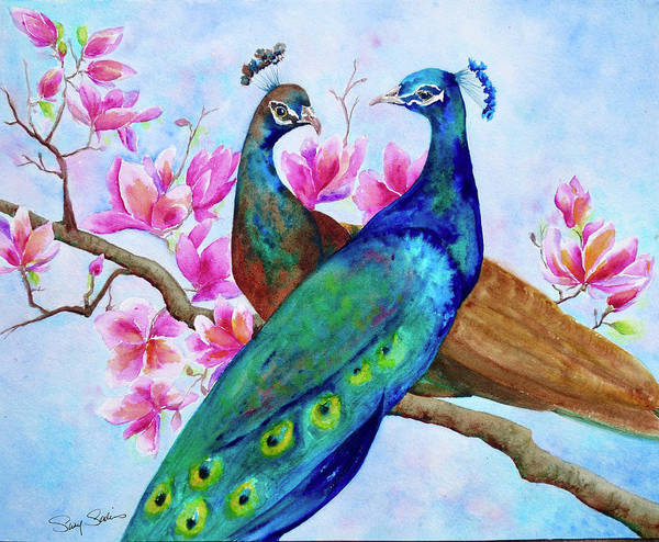 Wall Art - Painting - Magnolia Peacocks by Susy Soulies