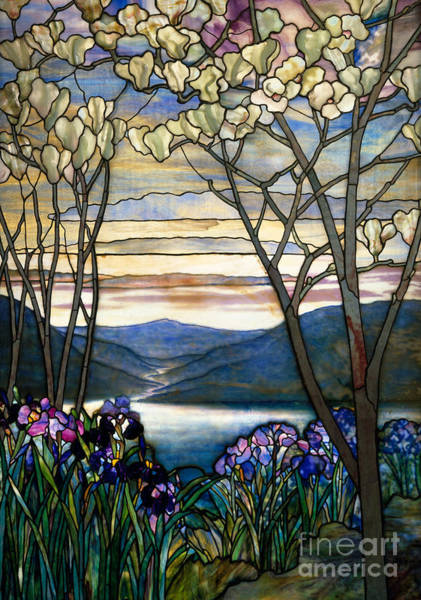 Wall Art - Glass Art - Magnolias And Irises by Louis Comfort Tiffany