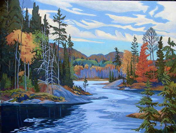 Wall Art - Painting - Magpie River Algoma by Paul Gauthier