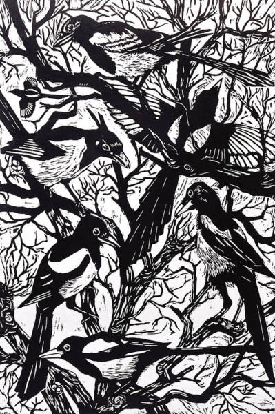 Crows Nest Wall Art - Painting - Magpies by Nat Morley