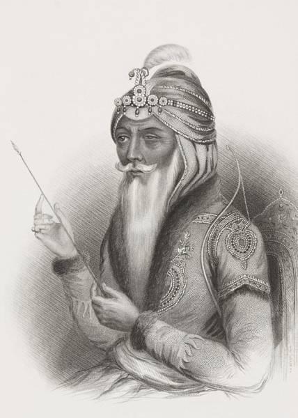 Singh Drawing - Maharaja Ranjit Singh 1780 - 1839 Also by Vintage Design Pics