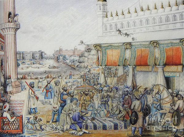 Singh Wall Art - Painting - Maharaja Ranjit Singh Sikh Court by Celestial Images