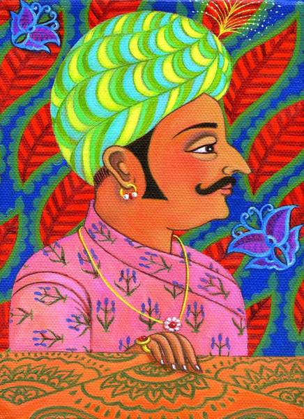 Ring Painting - Maharaja With Butterflies by Jane Tattersfield