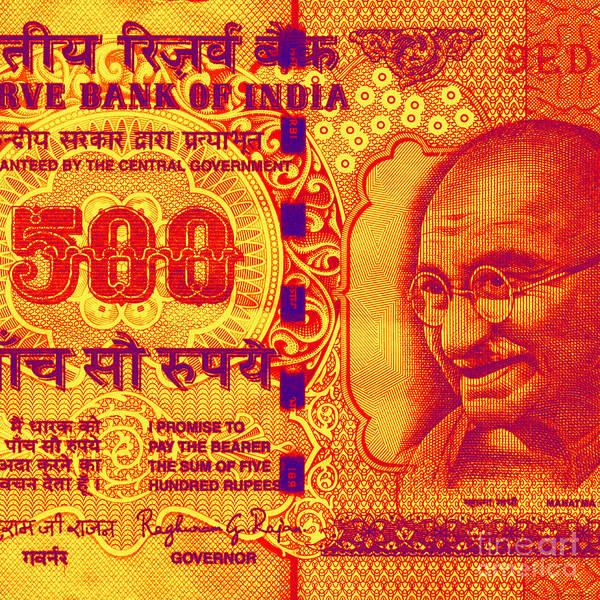 Mahatma Gandhi 500 Rupees Banknote Art Print