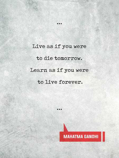 Art Paper Mixed Media - Mahatma Gandhi Quotes 1 - Literary Quotes - Book Lover Gifts - Typewriter Quotes by Studio Grafiikka