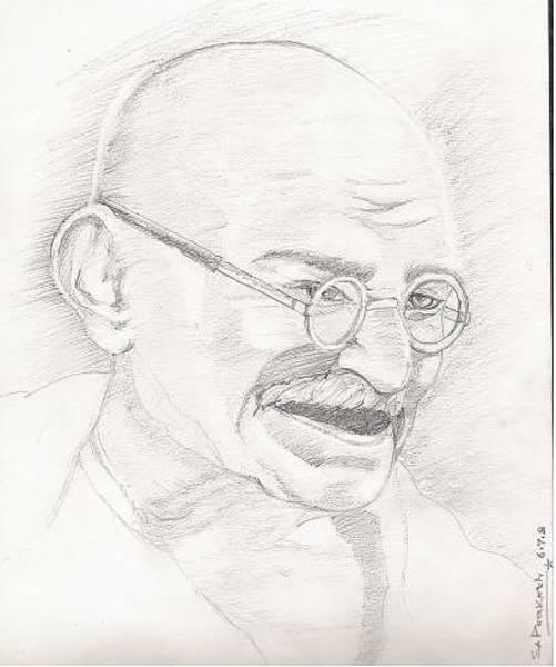 Singh Drawing - Mahatma Gandhi by SP Singh