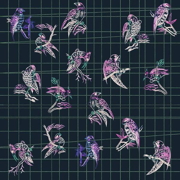 Mahjong Birds On Blue Art Print
