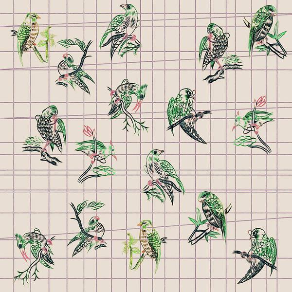 Mahjong Birds On Cream Art Print